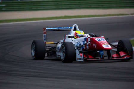 carlin: Imola, Italy - October 11, 2014: Dallara F312 VolkswagenR of Carlin Team, driven by Jake Dennis (Gbr) in action During The FIA ??Formula 3 European Championship - Race in Imola at Enzo & Dino Ferrari Circuit Editorial