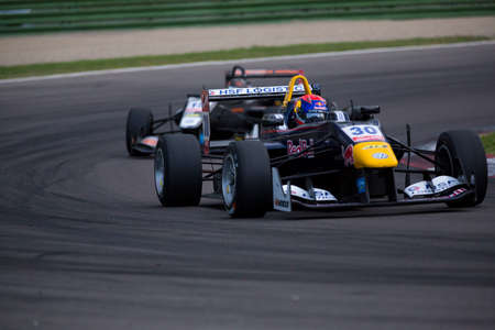 thirty���s: Imola, Italy - October 11, 2014: Dallara F312 VolkswagenR of Van Amersfoort Racing Team, driven by Max Verstappen (NLD) in action During The FIA ??Formula 3 European Championship - Race in Imola at Enzo & Dino Ferrari Circuit Editorial