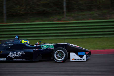 enzo: Imola, Italy - October 11, 2014: Dallara F312 Mercedes R of Eurointernational Team, driven by Sette Camara Sergio (Bra) in action During The FIA ??Formula 3 European Championship - Race in Imola at Enzo & Dino Ferrari Circuit