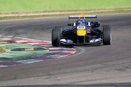 imola: Imola, Italy - October 11, 2014: Dallara F312 VolkswagenR of Van Amersfoort Racing Team, driven by Max Verstappen (NLD) in action During The FIA ??Formula 3 European Championship - Race in Imola at Enzo & Dino Ferrari Circuit Editorial