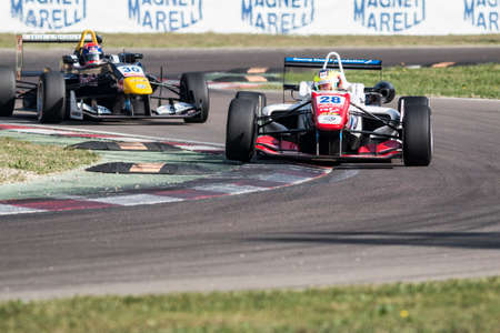 enzo: Imola, Italy - October 11, 2014: Dallara F312 VolkswagenR of Carlin Team, driven by Jake Dennis (Gbr) in action During The FIA ??Formula 3 European Championship - Race in Imola at Enzo & Dino Ferrari Circuit Editorial