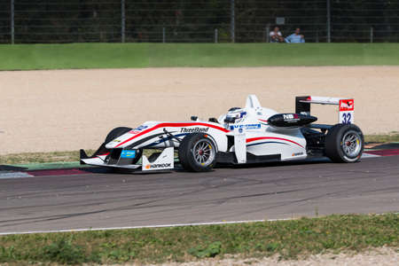 imola: Imola, Italy - October 11, 2014: Dallara F312 NBE R of T-Sport team, driven by Nick Cassidy (Nzl) in action During The FIA ??Formula 3 European Championship - Race in Imola at Enzo & Dino Ferrari Circuit