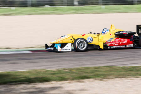 carlin: Imola, Italy - October 11, 2014: Dallara F312 Volkswagen of Jagonya Ayam with Carlin Team, driven by Tom Blomqvist (Gbr) in action During The FIA ??Formula 3 European Championship - Race in Imola at Enzo & Dino Ferrari Circuit Editorial