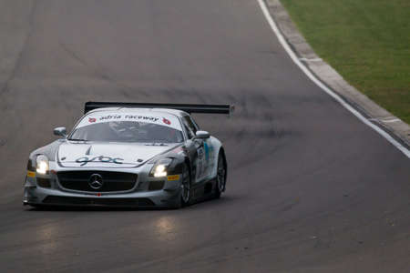 imola: Imola, Italy - October 11, 2014: A Mercedes Sls Amg Gt3 of Sports And You team, driven By Mora Francisco (Prt),  the C.I. Gran Turismo car racing on October 11, 2014 in Imola, Italy.