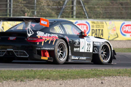 imola: Imola, Italy - October 11, 2014: A Porsche 997 Gt3 of Krypton Motorsport team, driven By Pezzucchi Stefano (Ita) and Bianco Riccardo (Ita),  the C.I. Gran Turismo car racing on October 11, 2014 in Imola, Italy.