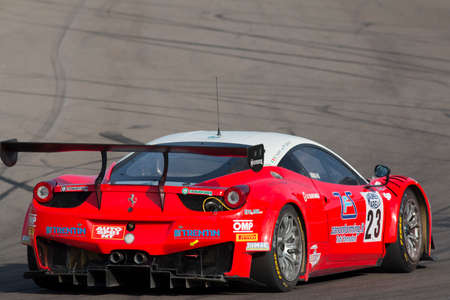 gt3: Imola, Italy - October 11, 2014: A Ferrari 458 Italia Gt3 of Malucelli team, driven By Galassi Marco (Smr) and Trentin Mauro (Ita),  the C.I. Gran Turismo car racing on October 11, 2014 in Imola, Italy.