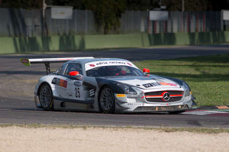 silva: Imola, Italy - October 11, 2014: A Mercedes Sls Amg Gt3 of Sports And You team, driven By Coimbra Antonio (Prt) and Silva Luis (Prt),  the C.I. Gran Turismo car racing on October 11, 2014 in Imola, Italy.