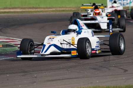 imola: Imola, Italy - October 11, 2014: A Tatuus F.4 T014 Abarth of  Israel F4 By Tsc team, driven By Baruch Bar (Isr),  the Italian F4 Championship car racing on October 11, 2014 in Imola, Italy.
