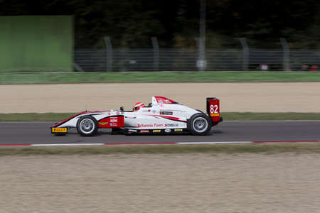 Imola, Italy - October 11, 2014: A Tatuus F.4 T014 Abarth of  Malta Formula Racing team, driven By Camilleri Keith (Mlt),  the Italian F4 Championship car racing on October 11, 2014 in Imola, Italy.