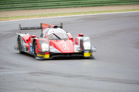 enzo: Imola, Italy – May 16, 2015: Oreca 05 – Nissan of Thiriet By Tds Racing Team, driven by Pierre Thiriet - Ludovic Badey - Tristan Gommendy in action during the European Le Mans Series - 4 Hours of Imola in Autodromo Enzo & Dino Ferrari on May 16, 2015  Editorial