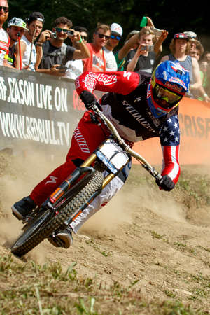 specialized: Val Di Sole, Italy - 22 August 2015: Specialized Racing Team rider GWIN Aaron, in action during the mens elite Downhill final World Cup at the Uci Mountain Bike in Val di Sole, Trento, Italy