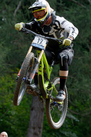 pivot: Val Di Sole, Italy - 22 August 2015: Pivot Factory Dh Team rider Kerr Bernard, in action during the mens elite Downhill final World Cup at the Uci Mountain Bike in Val di Sole, Trento, Italy