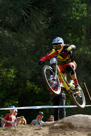 steve: Val Di Sole, Italy - 22 August 2015: Devinci Global Racing Team rider Smith Steve, in action during the mens elite Downhill final World Cup at the Uci Mountain Bike in Val di Sole, Trento, Italy