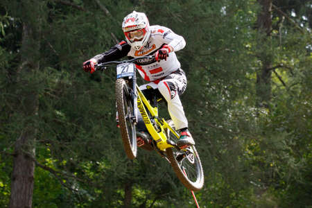 Val Di Sole, Italy - 22 August 2015: Calvisson Vtt Team,  Rider Figaret Faustin  in action during the mens elite Downhill final World Cup at the Uci Mountain Bike in Val di Sole, Trento, Italy Editöryel