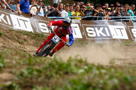 troy: Val Di Sole, Italy - 22 August 2015: Specialized Racing Team rider Brosnan Troy, in action during the mens elite Downhill final World Cup at the Uci Mountain Bike in Val di Sole, Trento, Italy