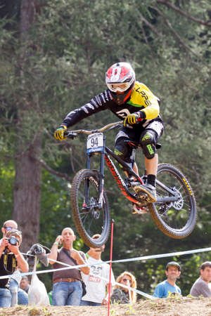 Val Di Sole, Italy - 22 August 2015: BARANEK Rastislav in action during the mens elite Downhill final World Cup at the Uci Mountain Bike in Val di Sole, Trento, Italy Zdjęcie Seryjne - 44939737