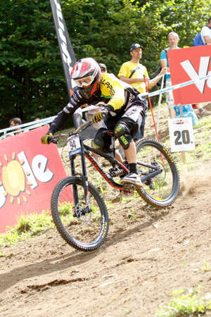 Val Di Sole, Italy - 22 August 2015: BARANEK Rastislav in action during the mens elite Downhill final World Cup at the Uci Mountain Bike in Val di Sole, Trento, Italy Publikacyjne