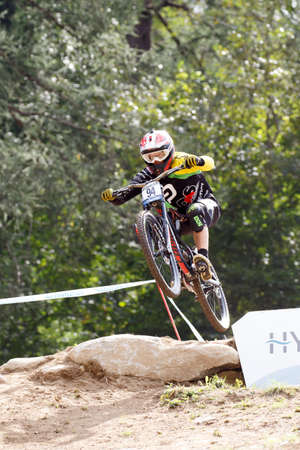 Val Di Sole, Italy - 22 August 2015: BARANEK Rastislav in action during the mens elite Downhill final World Cup at the Uci Mountain Bike in Val di Sole, Trento, Italy Zdjęcie Seryjne - 44939748