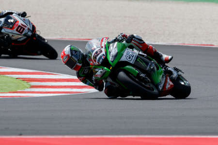 rea: Misano Adriatico, Italy - June 20: Kawasaki ZX-10R of KAWASAKI RACING TEAM, driven by REA Jonathan in action during the Superbike Free Practice 3th Session during the FIM Superbike World Championship - Race at Misano World Circuit on June 20, 2015 in Misa Editorial