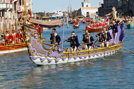 Venice, Italy - September 6, 2015: Historical ships open the Regatta Storica, the main event in the annual Voga alla Veneta rowing calendar, on September 6, 2015 in Venice, Veneto,  Italy Editorial