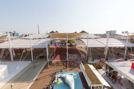 tensile: Milan, Italy - 12 August 2015: view of the tensile roof covering the main walk at exhibition Expo 2015 Italy.