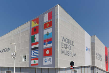 the world expo: Milan, Italy, 12 August 2015: Detail of the World Expo Museum pavilion at the exhibition Expo 2015 Italy.