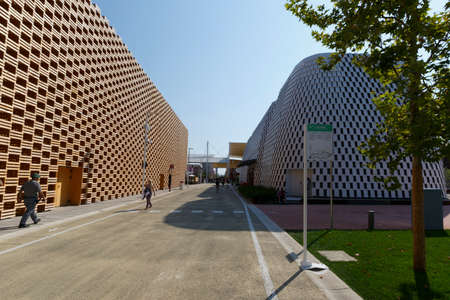 Polonia: Milan, Italy, 12 August 2015: Detail of the Poland pavilion at the exhibition Expo 2015 Italy. Editorial