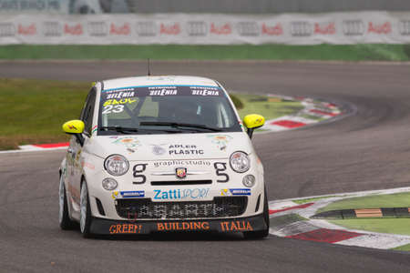 italia: Monza, Italy - October 25, 2014: Fiat Abarth 695 of Forza Servic Team, driven by GORLATO Saul in action during the Abarth Italia & Europa Trophy - Race in Autodromo Nazionale di Monza Circuit on October 25, 2014 in Imola, Italy.