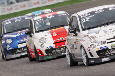 manuel: Monza, Italy - October 25, 2014: Fiat Abarth 695 of  Forza Servic Team, driven by Buffoli Manuel Mario in action during the Abarth Italia & Europa Trophy - Race in Autodromo Nazionale di Monza Circuit on October 25, 2014 in Imola, Italy.