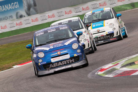 monza: Monza, Italy - October 25, 2014: Fiat Abarth 695 of  C&C Racing  Team, driven by Campani Alex in action during the Abarth Italia & Europa Trophy - Race in Autodromo Nazionale di Monza Circuit on October 25, 2014 in Imola, Italy Editorial