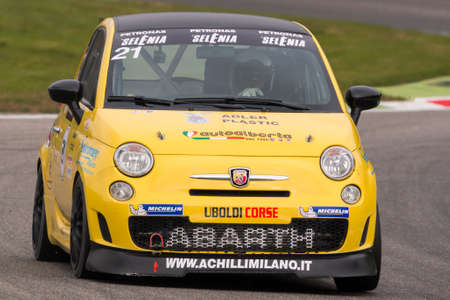 cristian: Monza, Italy - October 25, 2014: Fiat Abarth 695 of Uboldi Corse Team, driven by MAFFEI Cristian in action during the Abarth Italia & Europa Trophy - Race in Autodromo Nazionale di Monza Circuit on October 25, 2014 in Imola, Italy. (Photo by Mauro Dalla P Editorial