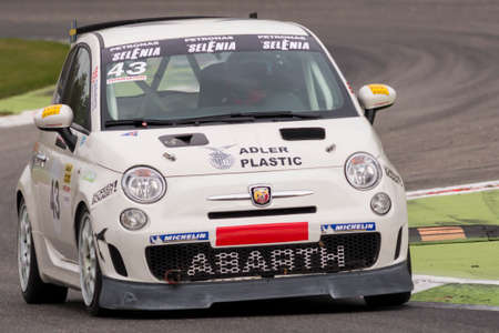 imola: Monza, Italy - October 25, 2014: Fiat Abarth 500 of LMP Engineer Team, driven by DARBOM Joakim in action during the Abarth Italia & Europa Trophy - Race in Autodromo Nazionale di Monza Circuit on October 25, 2014 in Imola, Italy. (Photo by Mauro Dalla Poz