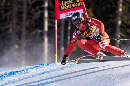 henri: Val Gardena, Italy 20 December 2014. Battilani Henri (Ita) competing in the Audi FIS Alpine Skiing World Cup Super-G race on the Saslong course in the Dolomite mountain range.