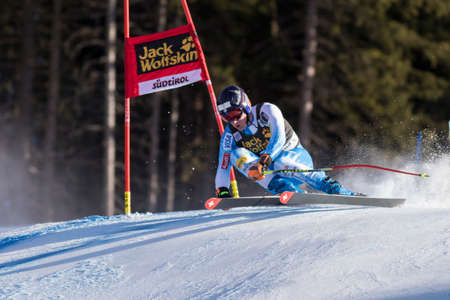 fis: Val Gardena, Italy 20 December 2014. JITLOFF Tim (Usa) competing in the Audi FIS Alpine Skiing World Cup Super-G race on the Saslong course in the Dolomite mountain range.