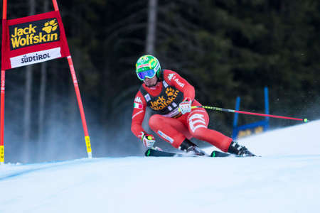 gardena: Val Gardena, Italy 20 December 2014. Paris Dominik (Ita) competing in the Audi FIS Alpine Skiing World Cup Super-G race on the Saslong course in the Dolomite mountain range.