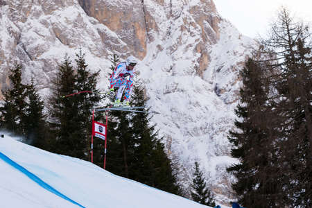 fis: Val Gardena, Italy 19 December 2014. Clarey Johan (Fra) competing in the Audi Fis Alpine Skiing World Cup Mens Downhill Race on the Saslong Course in the dolomite mountain range.