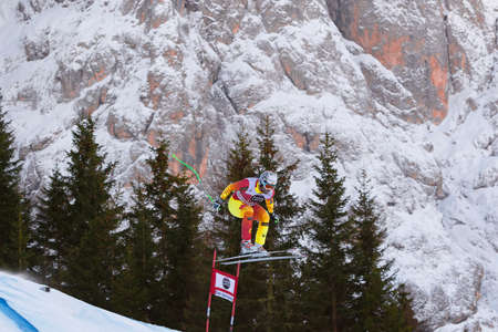 gardena: Val Gardena, Italy 19 December 2014. Osborne - Paradis Manuel   (Can) competing in the Audi Fis Alpine Skiing World Cup Mens Downhill Race on the Saslong Course in the dolomite mountain range. Editorial