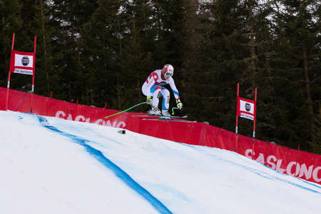 fis: Val Gardena, Italy 19 December 2014. Kueng Patrick (Sui) competing in the Audi Fis Alpine Skiing World Cup Mens Downhill Race on the Saslong Course in the dolomite mountain range. Editoriali