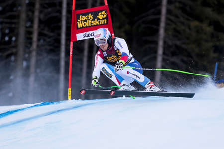 gardena: Val Gardena, Italy 20 December 2014. JANKA Carlo (Sui) competing in the Audi FIS Alpine Skiing World Cup Super-G race on the Saslong course in the Dolomite mountain range.