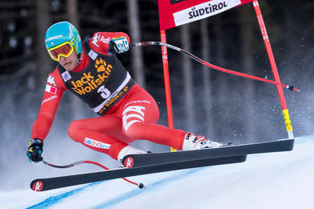 fis: Val Gardena, Italy 20 December 2014. Innerhofer Christof (Ita) competing in the Audi FIS Alpine Skiing World Cup Super-G race on the Saslong course in the Dolomite mountain range. Editorial