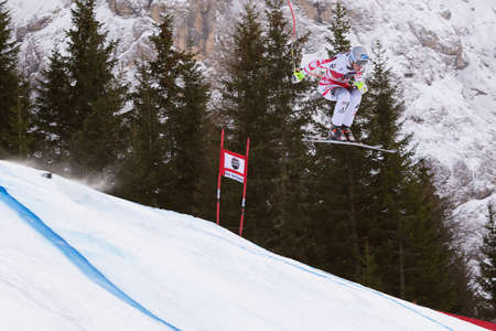 gardena: Val Gardena, Italy 19 December 2014. Scheiber Florian (Aut) competing in the Audi Fis Alpine Skiing World Cup Mens Downhill Race on the Saslong Course in the dolomite mountain range. Editorial