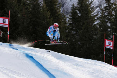 fis: Val Gardena, Italy 19 December 2014. Sullivan Marco (Usa) competing in the Audi Fis Alpine Skiing World Cup Mens Downhill Race on the Saslong Course in the dolomite mountain range. Editorial