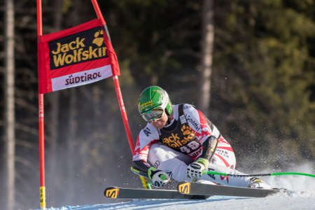 klaus: Val Gardena, Italy 20 December 2014. KROELL Klaus (Aur) competing in the Audi FIS Alpine Skiing World Cup Super-G race on the Saslong course in the Dolomite mountain range.