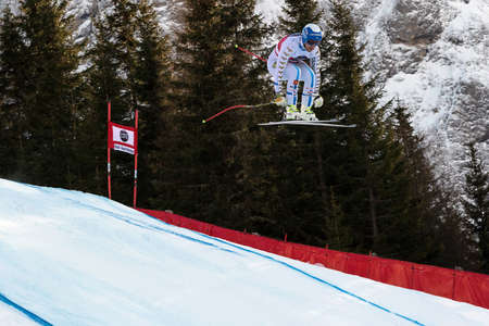 gardena: Val Gardena, Italy 19 December 2014.  Olsson Hans (Swe) competing in the Audi Fis Alpine Skiing World Cup Mens Downhill Race on the Saslong Course in the dolomite mountain rang Editorial