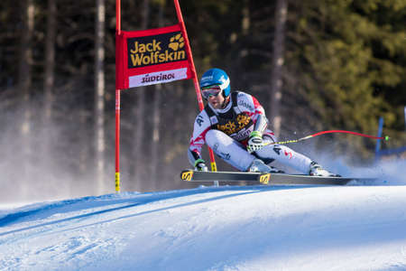 fis: Val Gardena, Italy 20 December 2014. BAUMANN Romed (Aut) competing in the Audi FIS Alpine Skiing World Cup Super-G race on the Saslong course in the Dolomite mountain range.