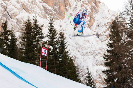 fis: Val Gardena, Italy 19 December 2014. Zurbriggen Silvan (Sui) competing in the Audi Fis Alpine Skiing World Cup Mens Downhill Race on the Saslong Course in the dolomite mountain range.