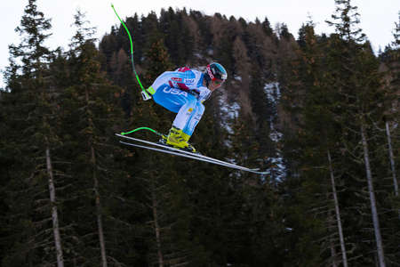 steven: Val Gardena, Italy 19 December 2014. Nyman Steven (Usa) competing in the Audi Fis Alpine Skiing World Cup Mens Downhill Race on the Saslong Course in the dolomite mountain range.