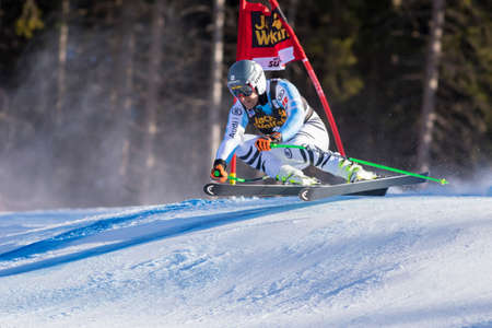 josef: Val Gardena, Italy 20 December 2014. FERSTL Josef (Ger) competing in the Audi FIS Alpine Skiing World Cup Super-G race on the Saslong course in the Dolomite mountain range.