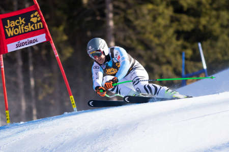 gardena: Val Gardena, Italy 20 December 2014. FERSTL Josef (Ger) competing in the Audi FIS Alpine Skiing World Cup Super-G race on the Saslong course in the Dolomite mountain range.