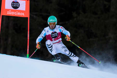 slalom: Val Badia, Italy 21 December 2014. NEUREUTHER Felix (Ger) competing in the Audi Fis Alpine Skiing World Cup Men's Giant Slalom on the Gran Risa Course in the dolomite mountain range. Editorial